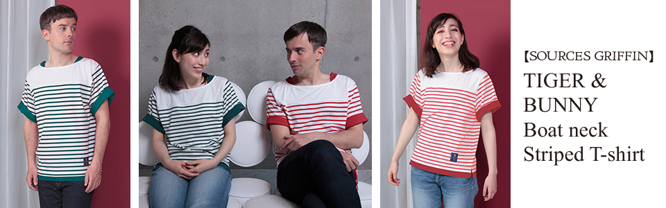 TIGER&BUNNY Boat neck Striped T-shirt